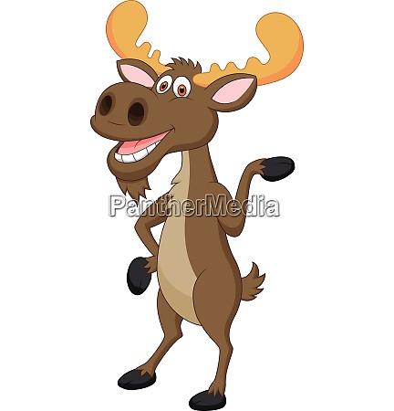 cute moose cartoon waving