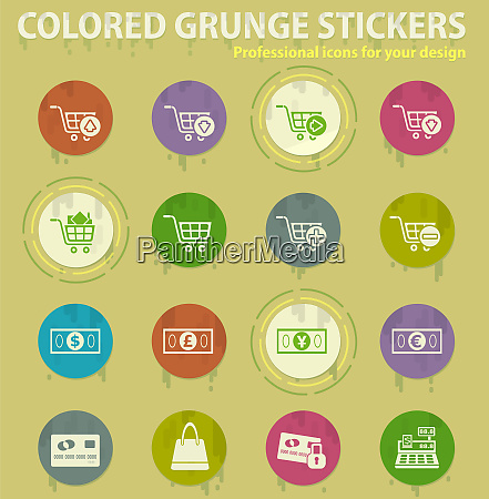 e commerce colored grunge icons