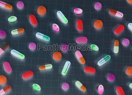 directly above shot of various medicines