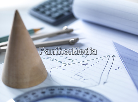 close up of mathematical instruments with