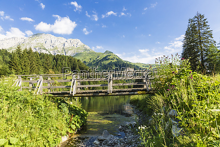 austria carinthia wooden bridge over lake