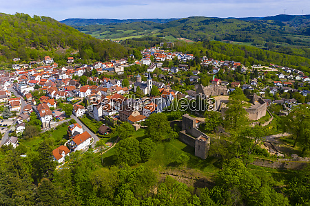 germany hesse lindenfels aerial view of