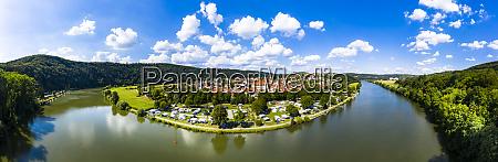 germany bavaria binau aerial panorama of