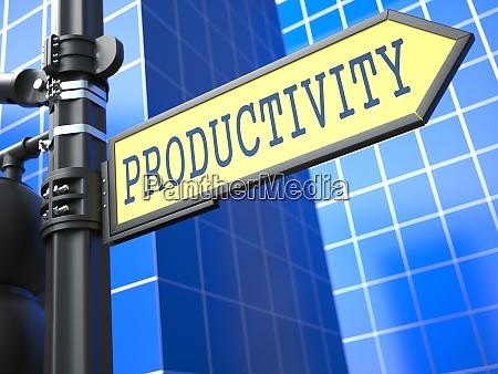 productivity word on yellow roadsign