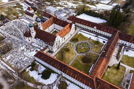 aerial view over benedictine monastery benediktbeuren
