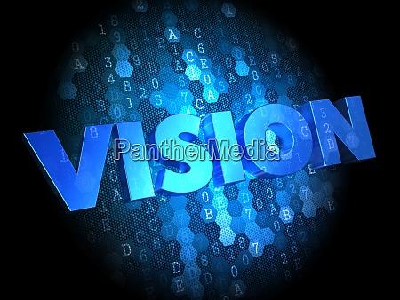 vision on dark digital background