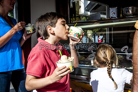 family having ice cream at an