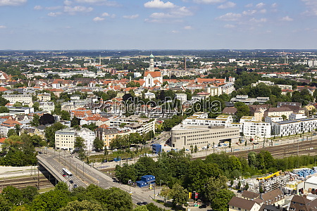 aerial view of augsburg cityscape against