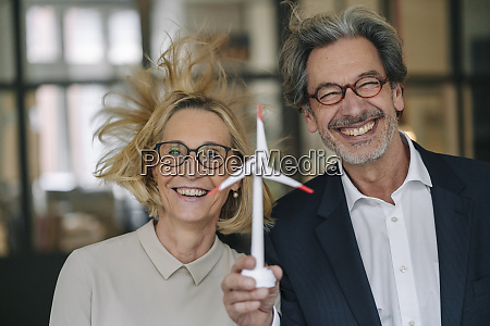 portrait of happy businessman and businesswoman