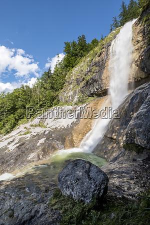 germany upper bavaria waterfall at lake