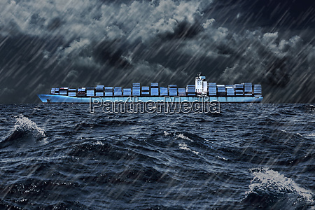 container ship on sea against cloudy