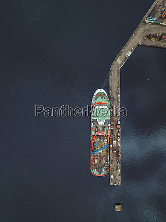 aerial view of ship in neva