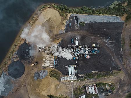 aerial view of asphalt plant at