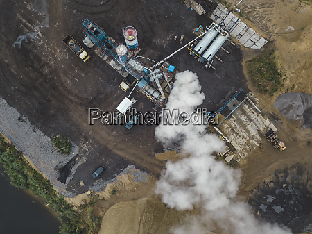 aerial view of asphalt plant at