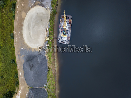 aerial view of barge in volga