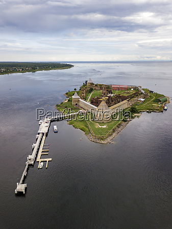 aerial view of oreshek fortress at