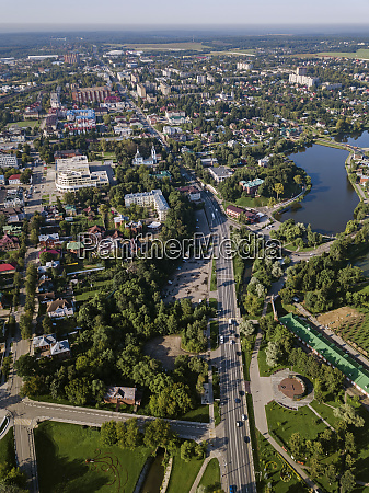 drone view of sergiev posad town