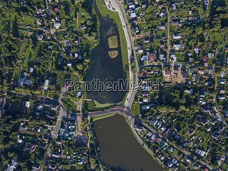 drone shot of sergiev posad town