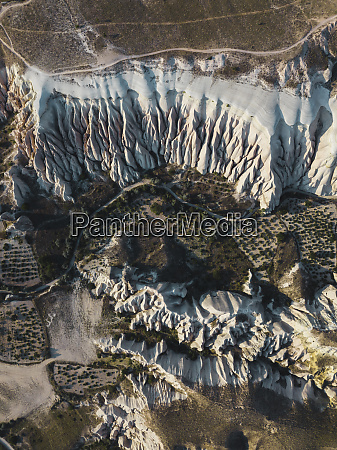 aerial view of volcanic tuff formations