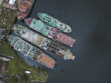 drone shot of ships in ladoga