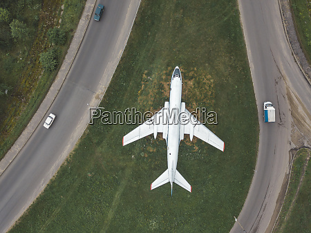 aerial view of airplane flying over
