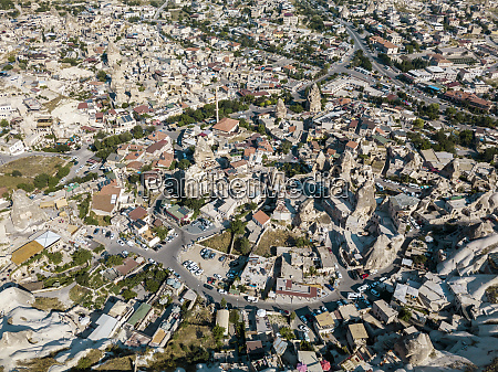 aerial view of town in goreme