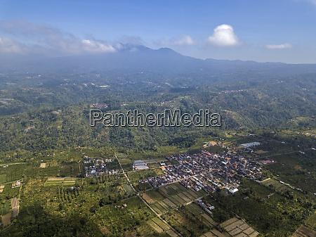 drone shot of bali island against