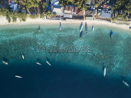 aerial view of gili islands at