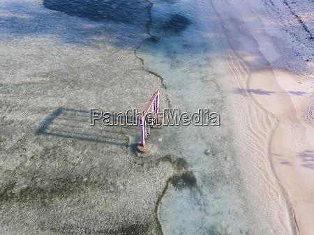 aerial view of swings in gili