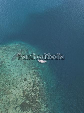 aerial view of ship at gili