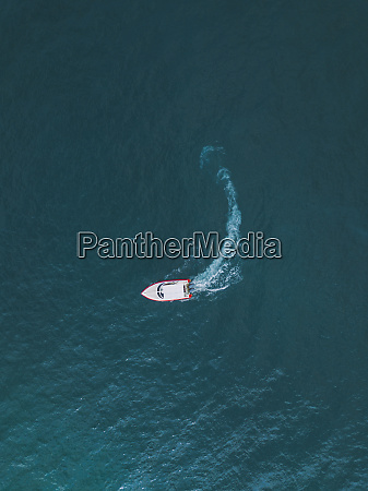 drone view of boat on sea