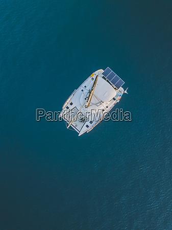 aerial view of catamaran on sea