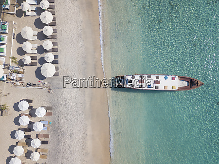 aerial view of boat moored at