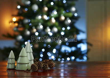 close up of small christmas trees