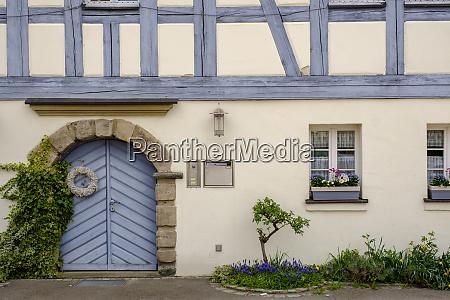 closed door of old house in