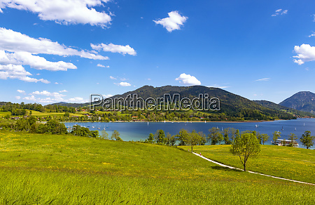 scenic view of lake tegernsee and