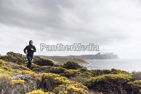 man jogging in rural scene cape