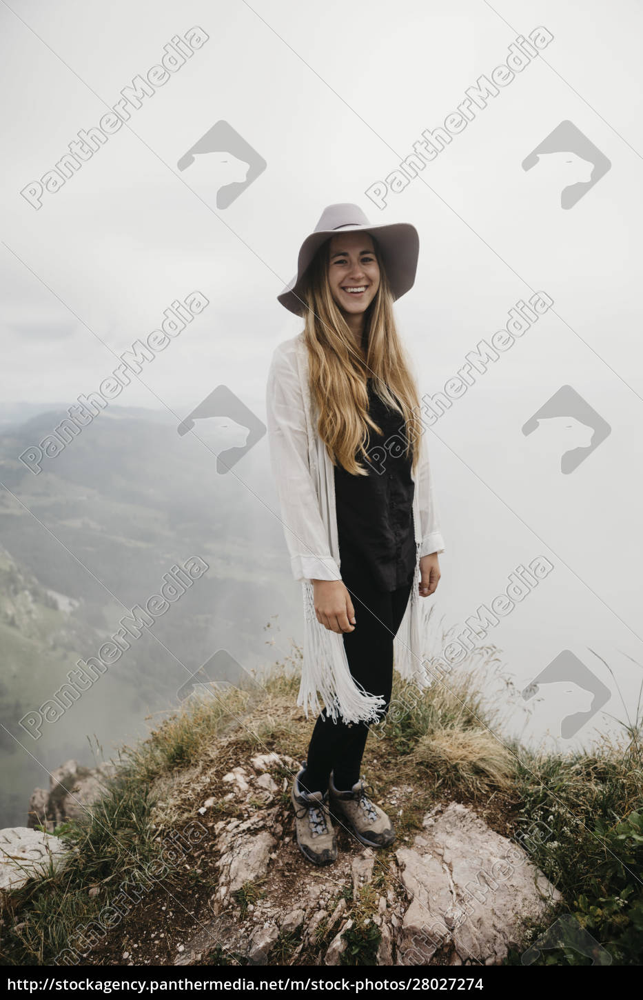 young, woman, wearing, hat, , standing, on - 28027274