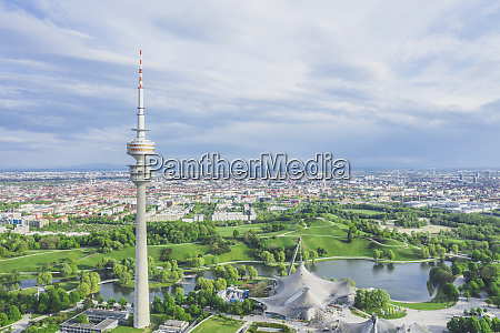 germany bavaria munich aerial view ofolympiaparkand