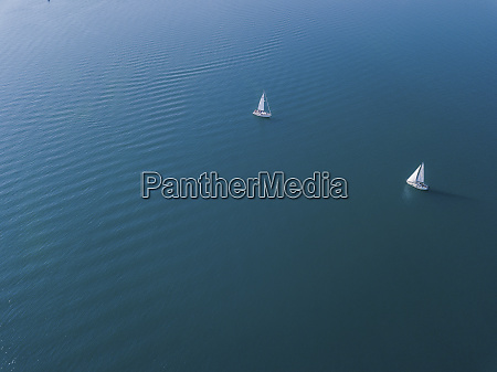 germany bavaria aerial view oftwo sailboats