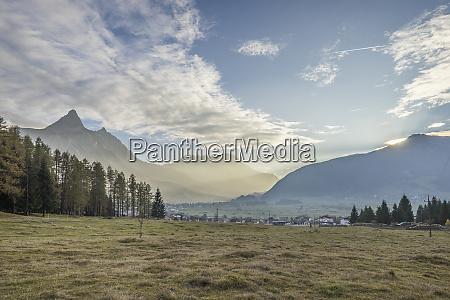 austria tyrol ehrwald town in valley