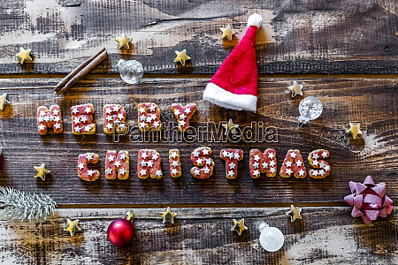 merry christmas written with cookies and