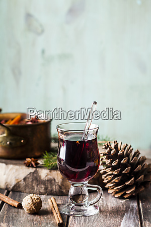 close up of mulled wine in