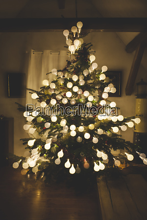 christmas tree with baubles made of