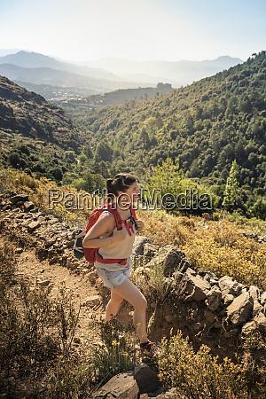 female hiker during hike at tavignano