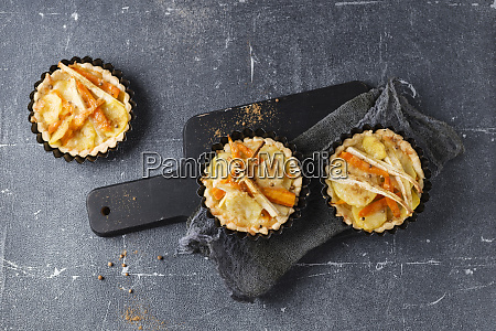 close up of hearty tartlets served