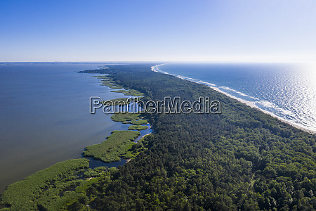 aerial view of seascape against clear