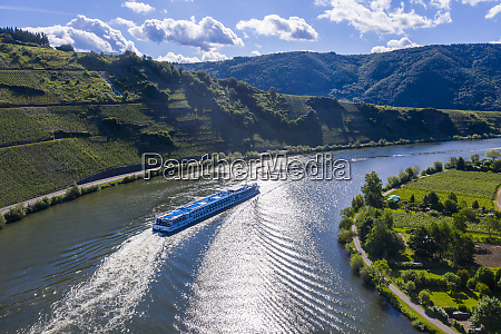 aerial view of cruise ship on