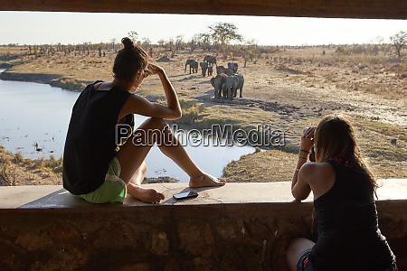 two women watching a herd of