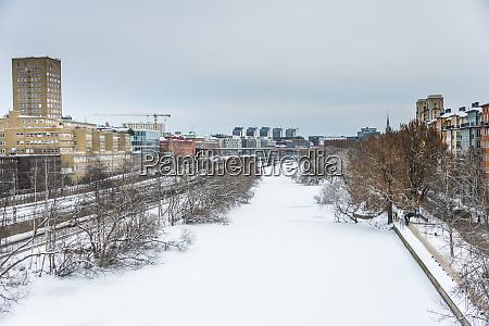 frozen canal klara sjoe in stockholm